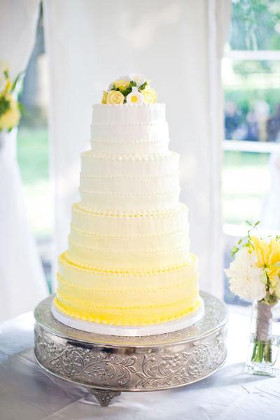 Yellow Ombre Ercream Wedding Cake