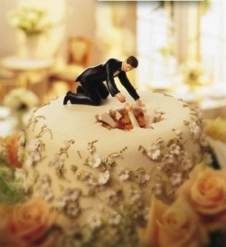 bride in the cake cake topper
