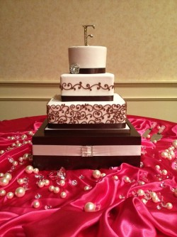 Pink and Brown Square Cake
