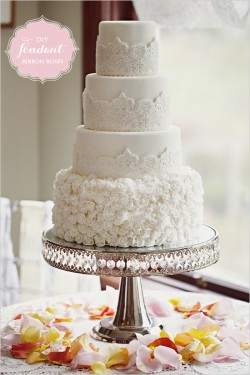Fondant Roses Wedding Cake