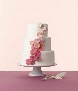 Ombre Pink Pleated Pinwheel Wedding Cake