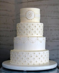 White Monogram Cake2
