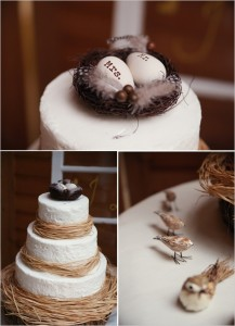 bird egg and nest cake topper