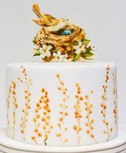 hand painted birds nest cake