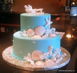 Teal Seashell Wedding Cake