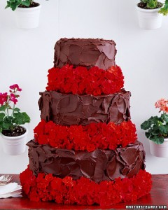 devils food cake with geraniums