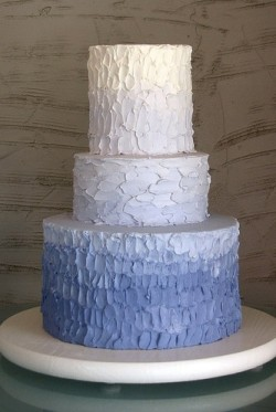 Blue Rustic Iced Ombre Cake
