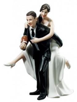 Football Couple Wedding Cake Topper
