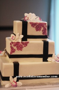 Orchid and Black Square Wedding Cake