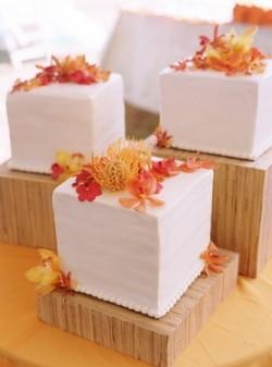 deconstructed white cube wedding cake