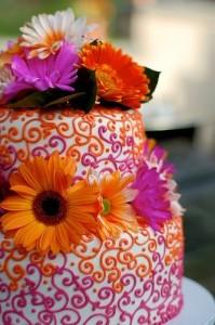 orange and magenta wedding cake