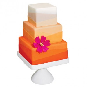 Orange Square Wedding Cake