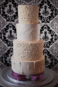 Pearl Encrusted Wedding Cake with Monogram