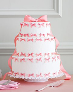 Pink Bow Wedding Cake
