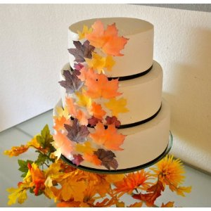 Leaf Cake Decorations Edible Fall Leaves A Wedding Cake