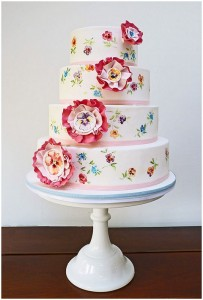 Hand Painted Pansy Wedding Cake