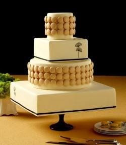 Square Minimalist Macaron Wedding Cake