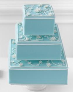 Tiffany Blue Wedding Cake with White Flowers