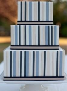 blue striped cake