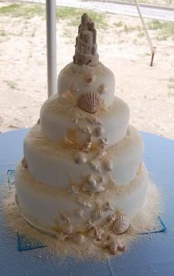 cascading seashell wedding cake
