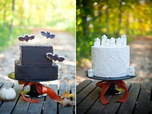 halloween his and hers cakes