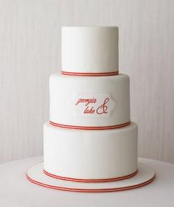 red stripe wedding cake