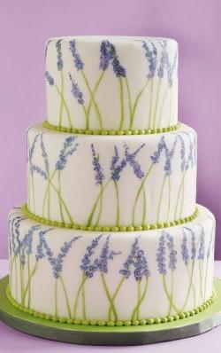 handpainted lavender wedding cake