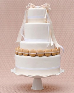Macaron and Ribbon Wedding Cake
