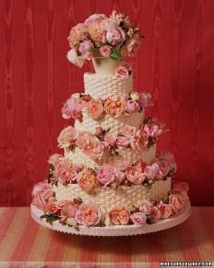 Roses Basket Wedding Cake