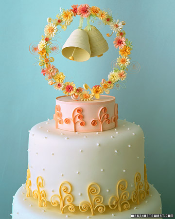 wedding cakes with bells pink and yellow wedding cakes a wedding cake 25978