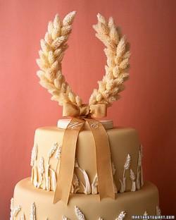 Wheat Horseshoe Wedding Cake Topper