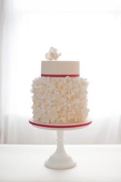 White Hydrangea Wedding Cake