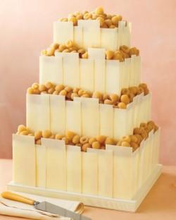white chocolate and golden raspberry wedding cake