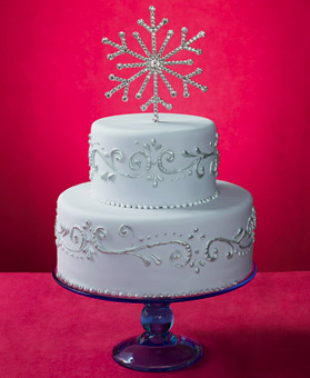 New Crystal Snowflake Winter Wedding Cake Topper
