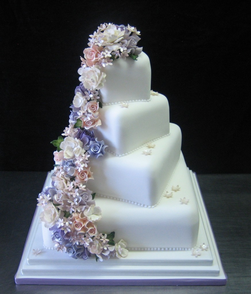 square wedding cakes purple flowers wedding cake with cascading flowers a wedding cake 20409
