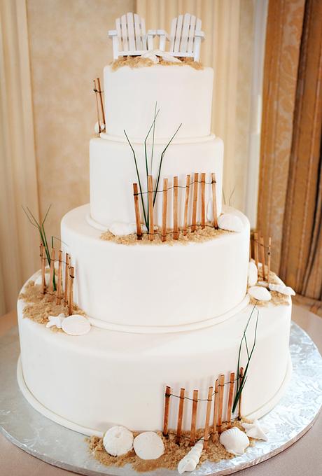 Beach Inspired White Wedding Cake