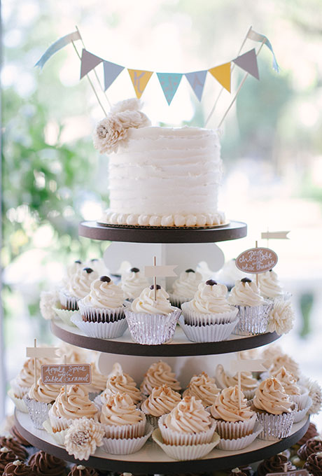 Two Tier Wedding Cakes With Cupcakes