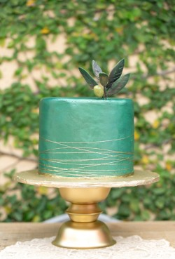 green metallic cake