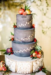 dark wedding cake with fruit