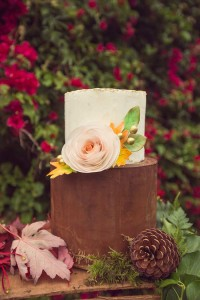 brown cake with flower