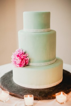 green cake with flower