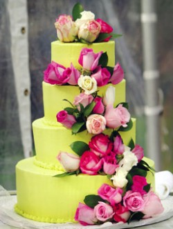 green cake with cascade