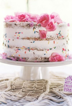naked cake with sprinkles
