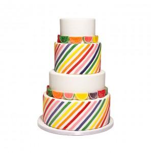 rainbow cake with fruit