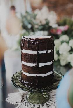 naked chocolate ganache cake