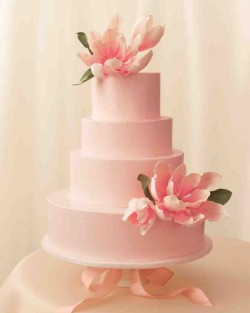 pink cake with flowers