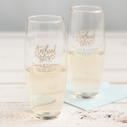 Fun Wedding Favor Stemless Champagne Flutes
