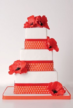 red polka dot cake
