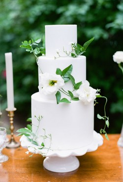 white cake with white flowers