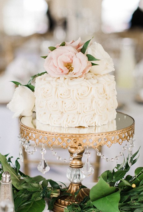 One Tier Rose Wedding Cake